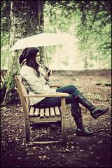 The rain has little soft fingers (manlio_k) Tags: wood trees portrait green umbrella canon vintage bench geotagged scotland bravo ground simona tayside manlio elie castagna abigfave burnwood 17105mm manliocastagna inchbare manliok