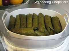 Dolmades with Rice, Tomatoes, and Onions 7 (wanderingchopsticks) Tags: leaves greek rice tomatoes onions vegetarian grape dolmades wanderingchopsticks