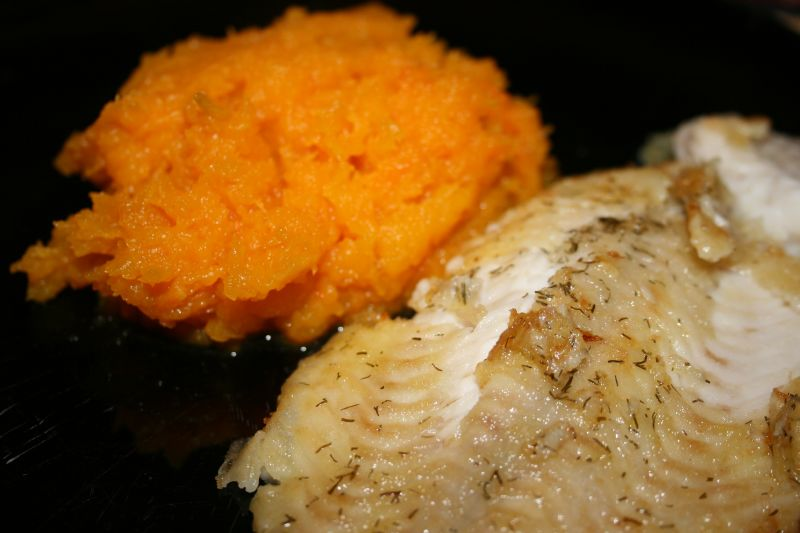 Dover sole and butternut squash