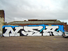 Liverpool graffiti 2008 (_NSA_) Tags: uk blue england white black west color colour art english composition liverpool typography photography graffiti design photo big nw northwest action britain good letters great north fine style stop crew massive type huge blam british blocks block buster form rollers graff northern carpark bang non setting 2008 technique dub isles mersey agents pois settings wirral ziek merseyside subculture nsa casm blamage gecs