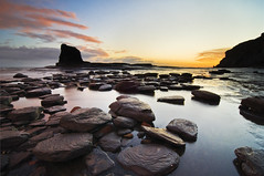 Textures; Black Nab, Saltwick Bay, North Yorkshire (Corica) Tags: longexposure sea water sunrise landscape nikon rocks yorkshire cliffs tokina textures northsea northyorkshire d300 saltwickbay corica blacknab dapagroupmeritaward nikond300 tokina1116