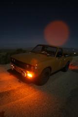Datsun (kneesamo) Tags: longexposure sun moon set nightshots atnight 1973 datsun kingscanyon butterscotch slowshutterspeed 620 inthedark l20b lakehughes bulletside pl620