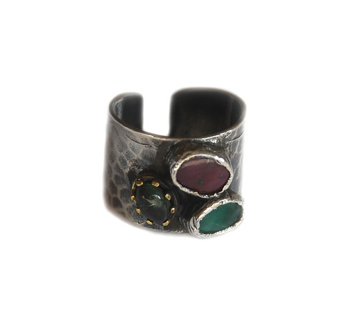 One of a Kind hammered silver ring with a ruby, tourmaline and jade stone