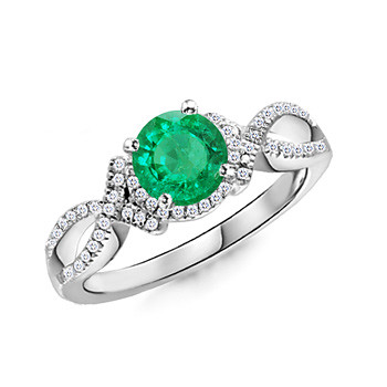14k White Gold Emerald and Diamond Ring (3/4 ct. tw.)