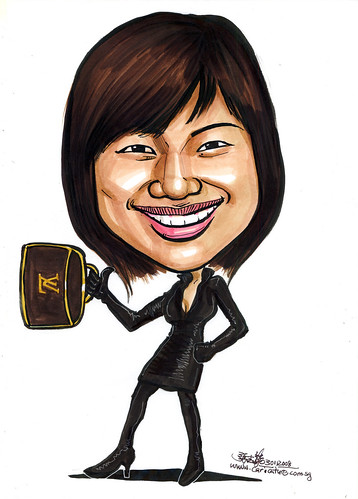 Caricature gorgeous lady with LV bag