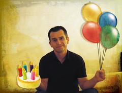 {1/365} Happy Birthday to Me (Sergio L.A.) Tags: portrait selfportrait sergio photoshop nikon d70s happybirthday cheers 365 nikkor escobar lightroom i nicecake sergioescobar fakeballons sergiola