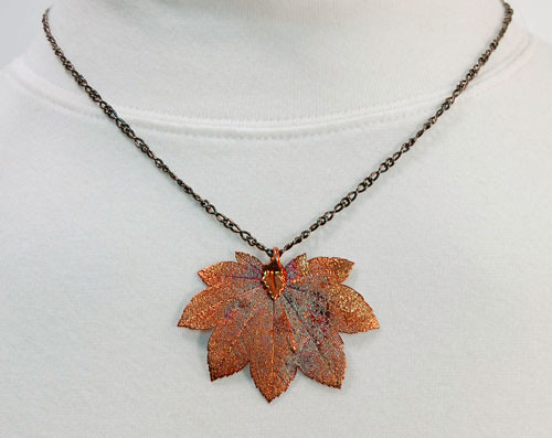 Necklace - Iridescent Rose Gold Real Leaf Pendant