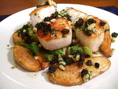 Sea Scallops (consumedithis) Tags: winter sea brussels food fall cooking dinner potatoes lemon healthy eating scallops pedro seafood simple sprouts brusselssprouts pinenuts currants fingerling pedroximenez seascallop ximenez