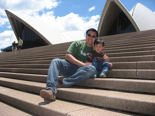 With Daddy on the steps of SOH