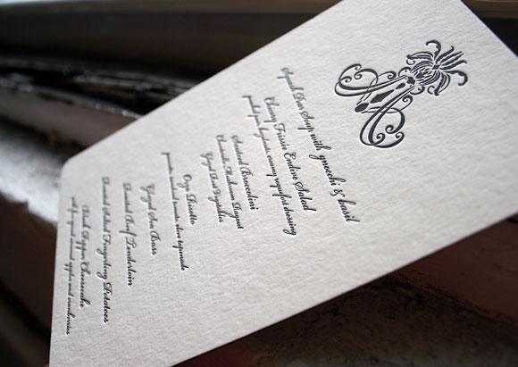 Letterpress menus - Nevis design - Smock