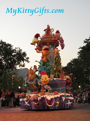 Hello Kitty's View of Little Mermaid Parade Cart in 'Let it Snow' Christmas Parade, Hong Kong Disneyland
