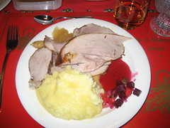 Christmas Dinner- my plate with descriptions- Rovaniemi, Finland 2008