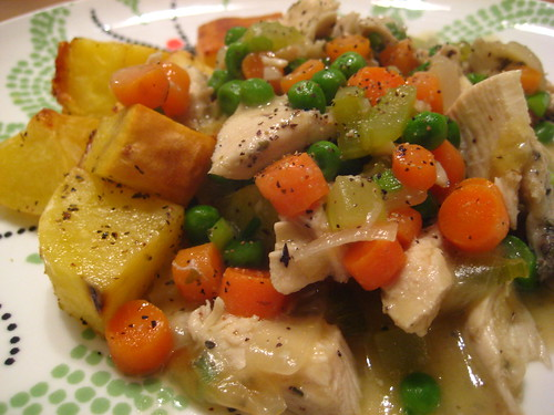chicken stew and roasted potatoes