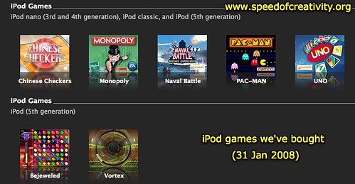 iPod games we've bought (31 Jan 2008)