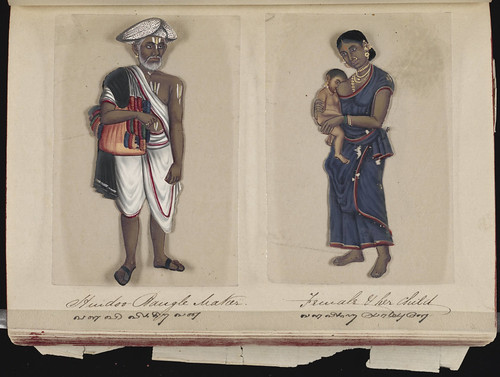 Hindoo bangle maker - Female & her child, Madura, 1837