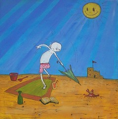 A Day at the Beach (Knottwood) Tags: original silly painting funny acrylic bright humourous