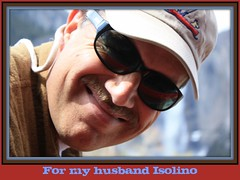 My husband (prayerfriends) Tags: blue red portrait brown man black smile hat shirt mouth nose glasses bokeh framed ears dimples mustache