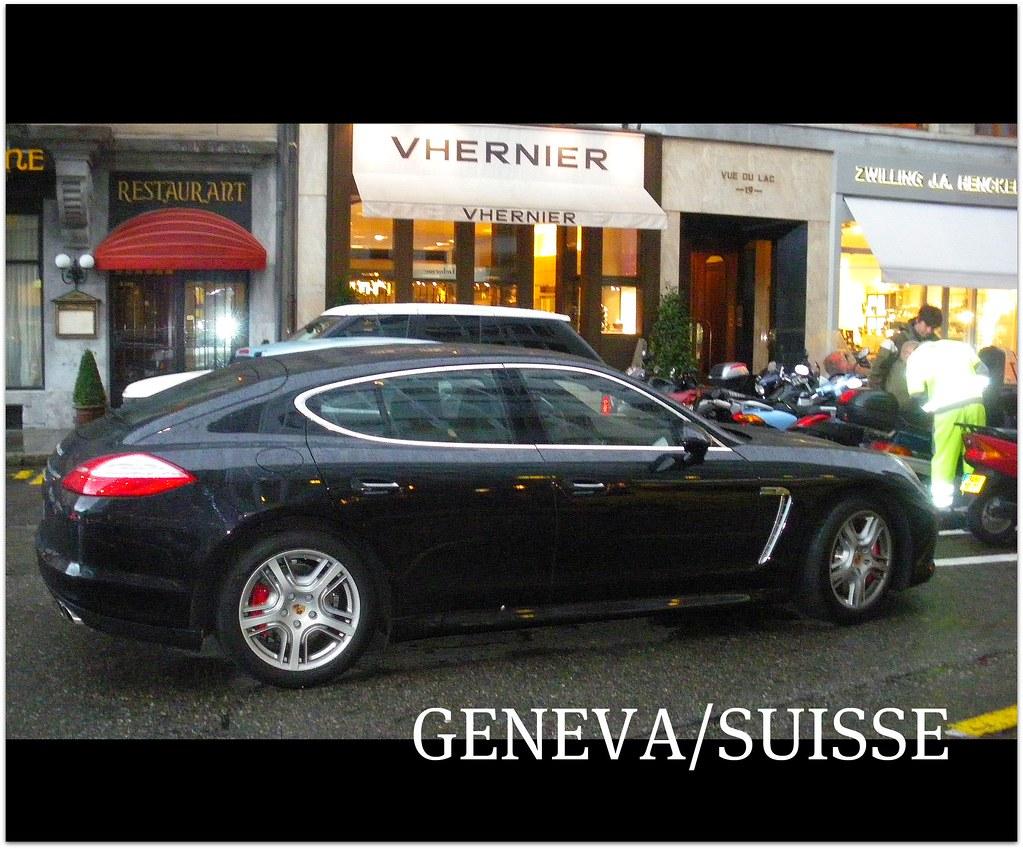 PORSCHE PANAMERA TURBO 4-DOOR - in Geneva - Switzerland - Despite rain by the bucketload we have taken these pictures of this outstanding and exclusive 4 door Porsche ( 5 door ) - Panamera Turbo versi
