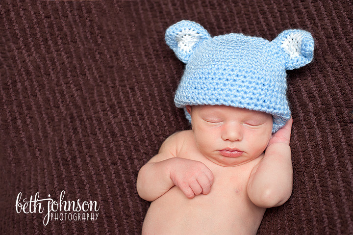 newborn baby boy in blue bear hat tallahassee