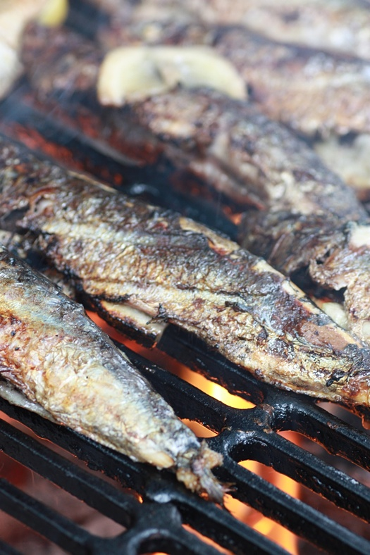 Sardines on the grill