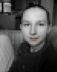 Growing up digital (david slauson) Tags: portrait bw color girl digital nikon d70 mosaic young muted tiled pixellated