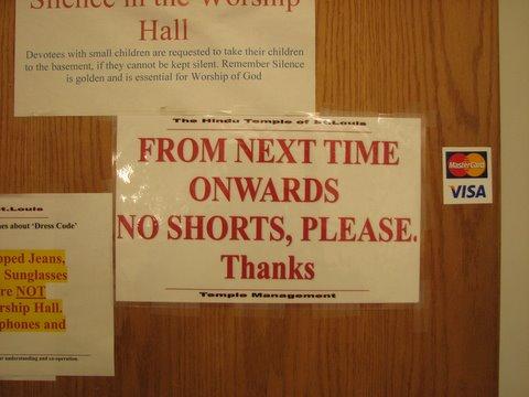 no shorts please ..st louis temple