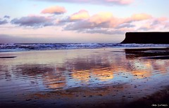 Ripples (~Glen B~) Tags: uk blue sea england sky orange beach yellow clouds reflections sand surf britain cleveland ripples teesside saltburn huntcliff