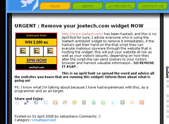 JoeTech.com Widget Warning
