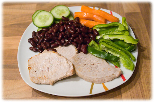 pork, paprika, kidney beans, carrots and cucumber