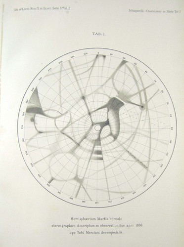 Boreal hemisphere of Mars 1886 Giovanni Schiaparelli