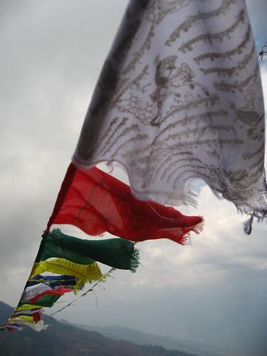 Prayer flags atop Deurali Pass
