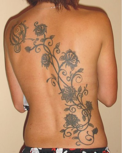 Tattoo Designs : Permanent Flower Back Tattoo Design