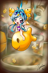 Goldfish Xyni (Zephos) Tags: blue food orange anime cute art kitchen girl illustration photoshop pepper soup glasses comic goldfish drawing chibi cartoon manga mascot cracker splash swimsuit