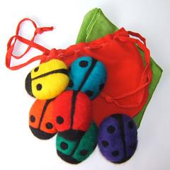 Count Your Ladybugs Set (BeneathTheRowanTree) Tags: baby wool felted children toy toddler natural felting handmade waldorf silk felt needle ladybug ladybugs needlefelted