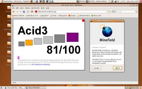 81 / 100 à Acid3 sur Shiretoko pre-alpha1