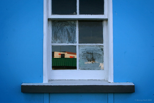 Blue window reflection