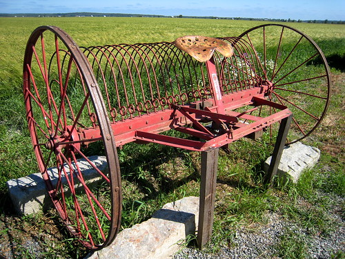 Old machine for drying hay