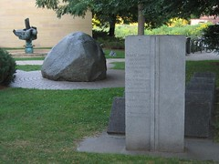 "<p>Title: ""Jennifer Bonner Memorial Garden""<br/>Sculptor: Raymond I. Jacobson<br/><br/>Accessible to Public: yes, outdoors<br/>Location: Boliou Hall<br/>Ownership: Carleton College<br/>Medium: Boulder, granite, bronze and plantings<br/>Dimension: 35 feet by 90 feet<br/>Provenance: commissioned by Barbara and Robert Bonner in memory of their daughter Jennifer<br/>Year of Installation: 1989<br/>Physical Condition: good</p>"