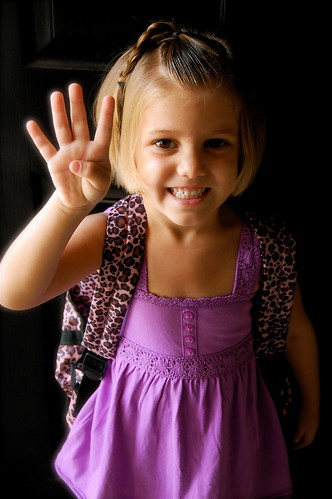 Lucy starts preschool--big 4!