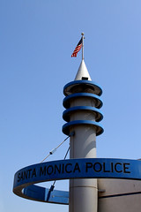 Santa Monica Police Station on the Pier (MickiP65) Tags: california blue sky usa tourism us losangeles pacific santamonica flag pch pacificocean socal northamerica attraction allrightsreserved copyrighted polic losangelescounty canoneos30d santamonicapolice michellepearson