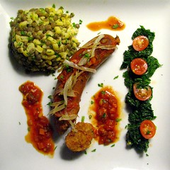 Alligator Boudin with Lentils and Yellow Hominy in a Sweet and Spicy Tomato Sauce