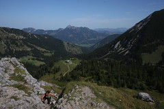 Hiking up on mountains Rotwand and Taubenstein in Bavaria, Germany