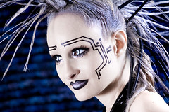 Chrome Girl (SarynChristina) Tags: fashion fetish goth vinyl makeup rubber contacts mohawk latex circuit alternative extensionsmohawk