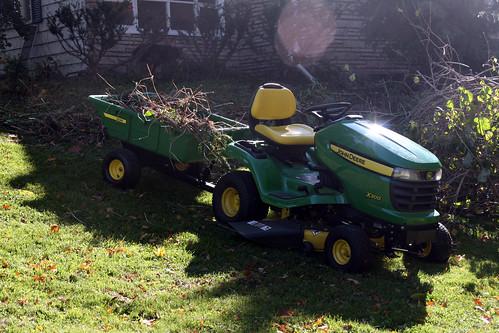 John Deere X300 and 10P utility cart