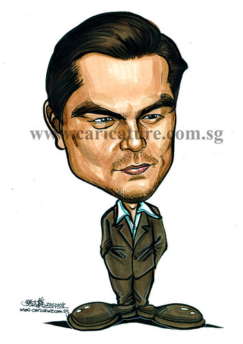 Celebrity caricatures - Leonardo Dicaprio colour watermark