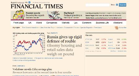 Redesigned FT.com homepage