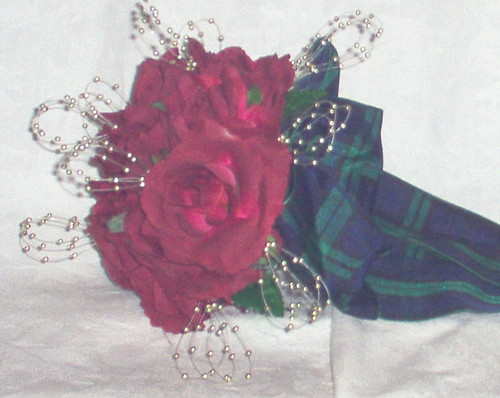 """shannon"" red rose rose & blin posy with black watch bow by you."