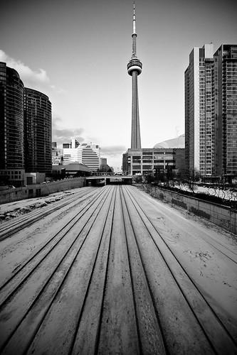Tracks towards the tower