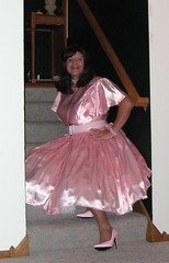 Pink Satin Dress Sitting (Deedee Fullskirt) Tags: pink color highheels shine slip crossdresser petticoat fullskirt