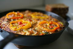 The best Frittata this house has ever seen (Chris Beauchamp) Tags: food calgary vegetables cheese breakfast canon recipe design photographer graphic toast alberta eggs peppers editor freelance frittata fritata xti frittatarecipe frittataingredients copyrightchrisbeauchamp20072009